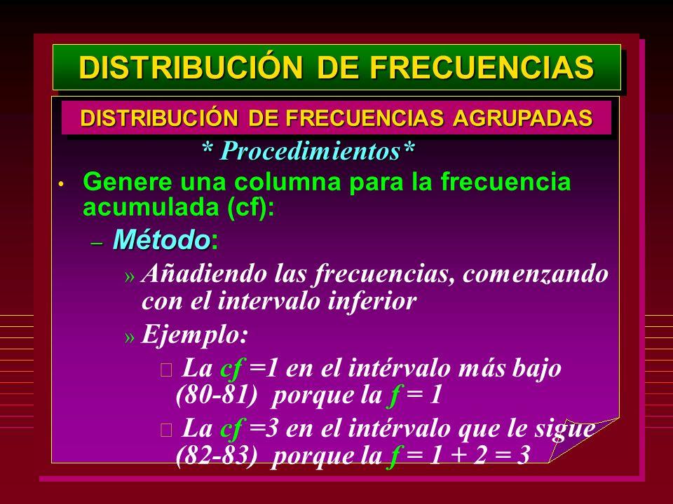 DISTRIBUCIÓN DE FRECUENCIAS Genere una columna para la frecuencia acumulada (cf): – Método – Método: » Añadiendo las frecuencias, comenzando con el in