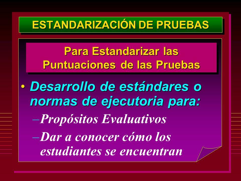 ESTANDARIZACIÓN DE PRUEBAS Desarrollo de estándares o normas de ejecutoria para:Desarrollo de estándares o normas de ejecutoria para: –Propósitos Eval