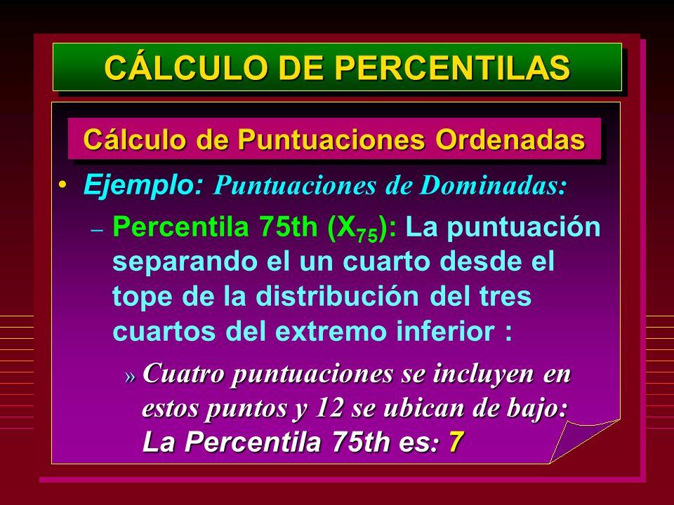 Ejemplo: Puntuaciones de Dominadas: – Percentila 75th (X 75 ): La puntuación separando el un cuarto desde el tope de la distribución del tres cuartos