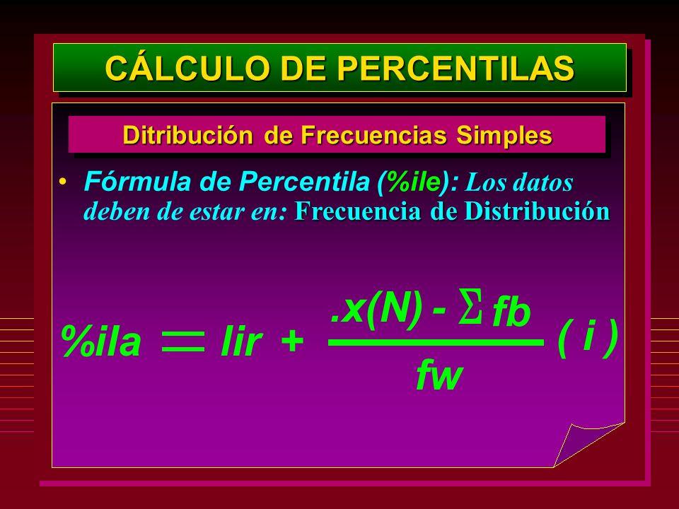 Frecuencia de DistribuciónFórmula de Percentila (%ile): Los datos deben de estar en: Frecuencia de Distribución CÁLCULO DE PERCENTILAS Ditribución de