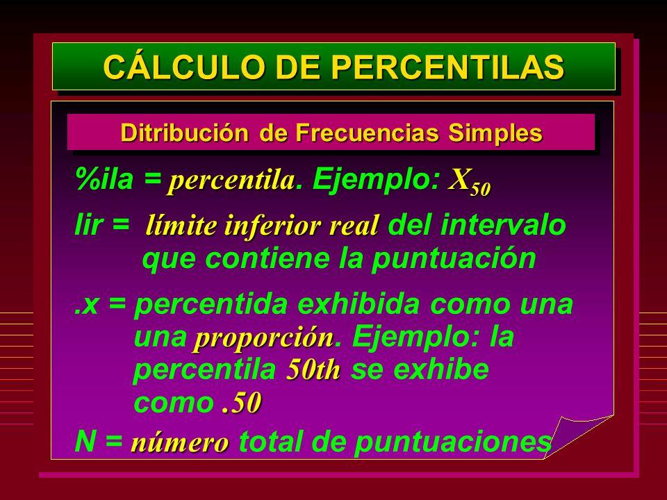 CÁLCULO DE PERCENTILAS Ditribución de Frecuencias Simples percentilaX 50 %ila = percentila. Ejemplo: X 50 límite inferiorreal lir = límite inferior re