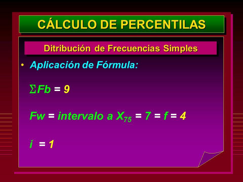 Aplicación de Fórmula: CÁLCULO DE PERCENTILAS Ditribución de Frecuencias Simples Fw = intervalo a X 75 = 7 = f = 4 Fb = 9 i = 1