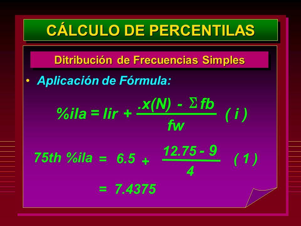 Aplicación de Fórmula: CÁLCULO DE PERCENTILAS Ditribución de Frecuencias Simples %ilalir+.x(N)- fw fb ( i ) = 75th %ila 6.5 + 12.75 - 4 9 ( 1 ) = = 7.