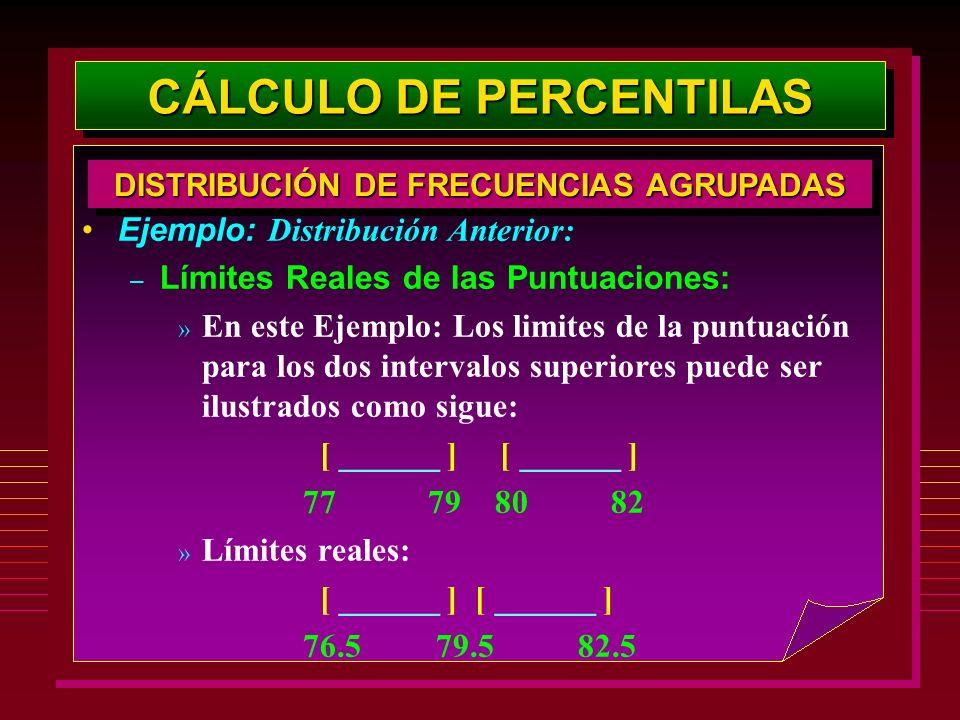 Ejemplo: Distribución Anterior: – Límites Reales de las Puntuaciones: » En este Ejemplo: Los limites de la puntuación para los dos intervalos superior