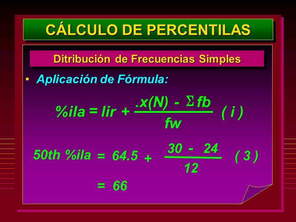 Aplicación de Fórmula: CÁLCULO DE PERCENTILAS Ditribución de Frecuencias Simples %ilalir+.x(N)- fw fb ( i ) = 50th %ila 64.5 + 30 - 12 24 ( 3 ) = = 66