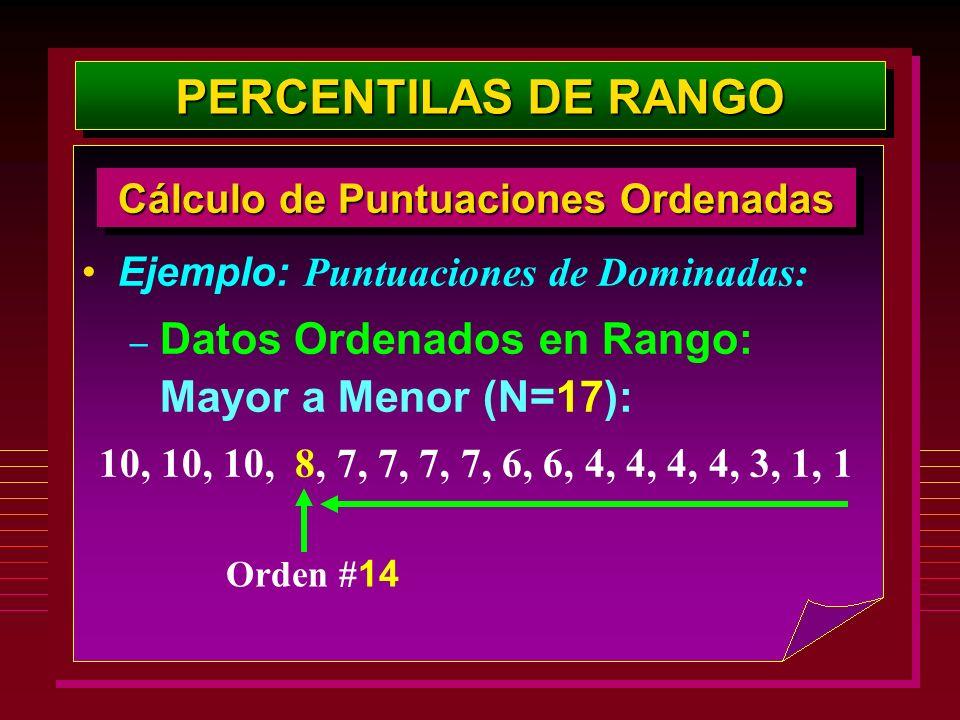 Ejemplo: Puntuaciones de Dominadas: – Datos Ordenados en Rango: Mayor a Menor (N=17): 10, 10, 10, 8, 7, 7, 7, 7, 6, 6, 4, 4, 4, 4, 3, 1, 1 Cálculo de