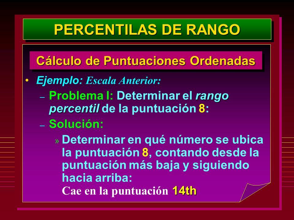 Ejemplo: Escala Anterior: rango percentil – Problema I: Determinar el rango percentil de la puntuación 8: – Solución: 14th » Determinar en qué número