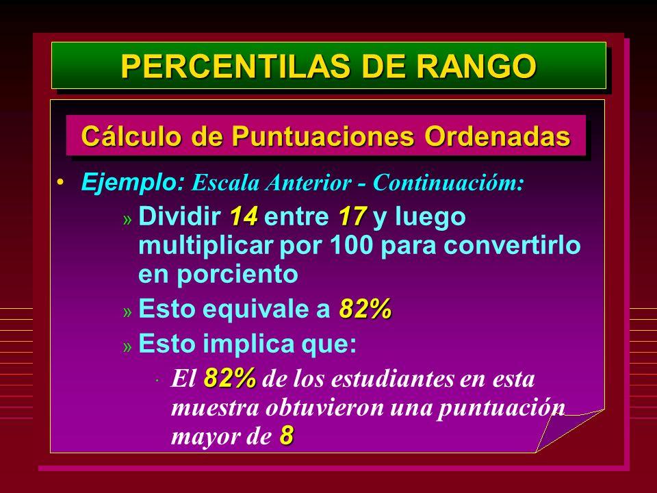 Ejemplo: Escala Anterior - Continuacióm: 1417 » Dividir 14 entre 17 y luego multiplicar por 100 para convertirlo en porciento 82% » Esto equivale a 82