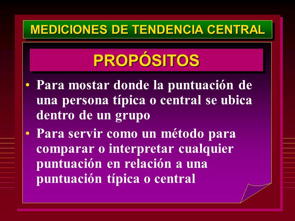 MEDICIONES DE TENDENCIA CENTRAL Para mostar donde la puntuación de una persona típica o central se ubica dentro de un grupo Para servir como un método