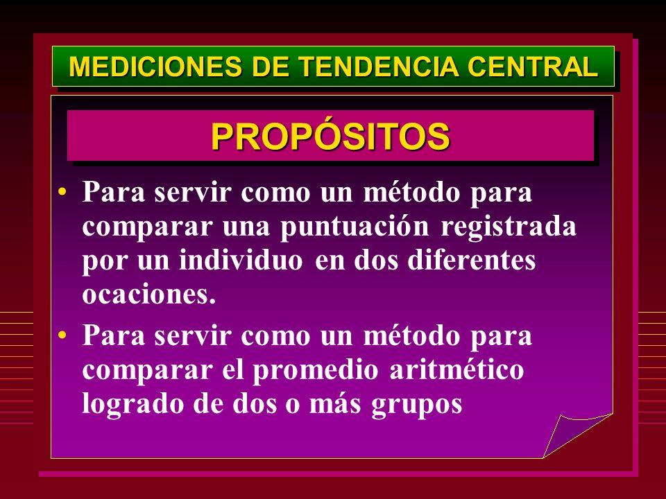 MEDICIONES DE TENDENCIA CENTRAL Para servir como un método para comparar una puntuación registrada por un individuo en dos diferentes ocaciones. Para
