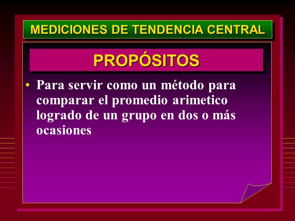 MEDICIONES DE TENDENCIA CENTRAL Para servir como un método para comparar el promedio arimetico logrado de un grupo en dos o más ocasiones PROPÓSITOSPR