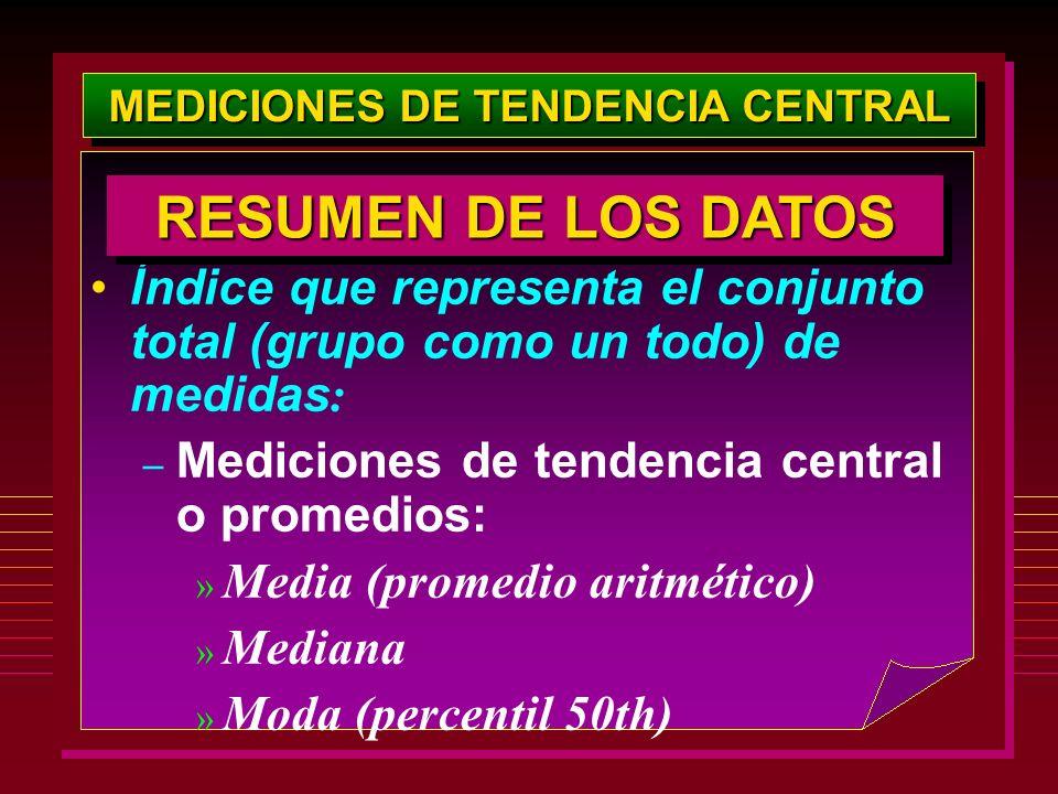 MEDICIONES DE TENDENCIA CENTRAL Índice que representa el conjunto total (grupo como un todo) de medidas : – Mediciones de tendencia central o promedio