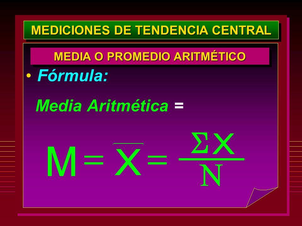MEDICIONES DE TENDENCIA CENTRAL Fórmula: Media Aritmética = MEDIA O PROMEDIO ARITMÉTICO