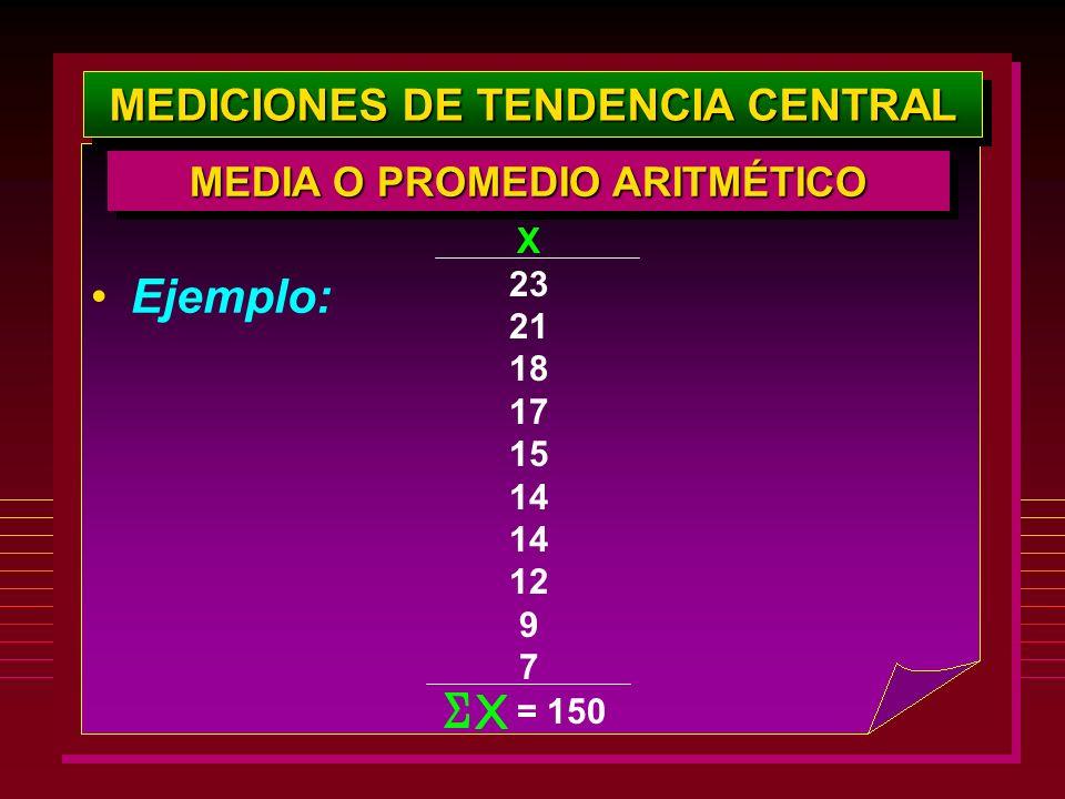 MEDICIONES DE TENDENCIA CENTRAL Ejemplo: X 23 21 18 17 15 14 12 9 7 = 150 MEDIA O PROMEDIO ARITMÉTICO