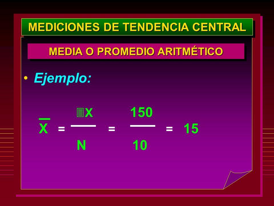 MEDICIONES DE TENDENCIA CENTRAL Ejemplo: X 150 X = = = 15 N 10 MEDIA O PROMEDIO ARITMÉTICO