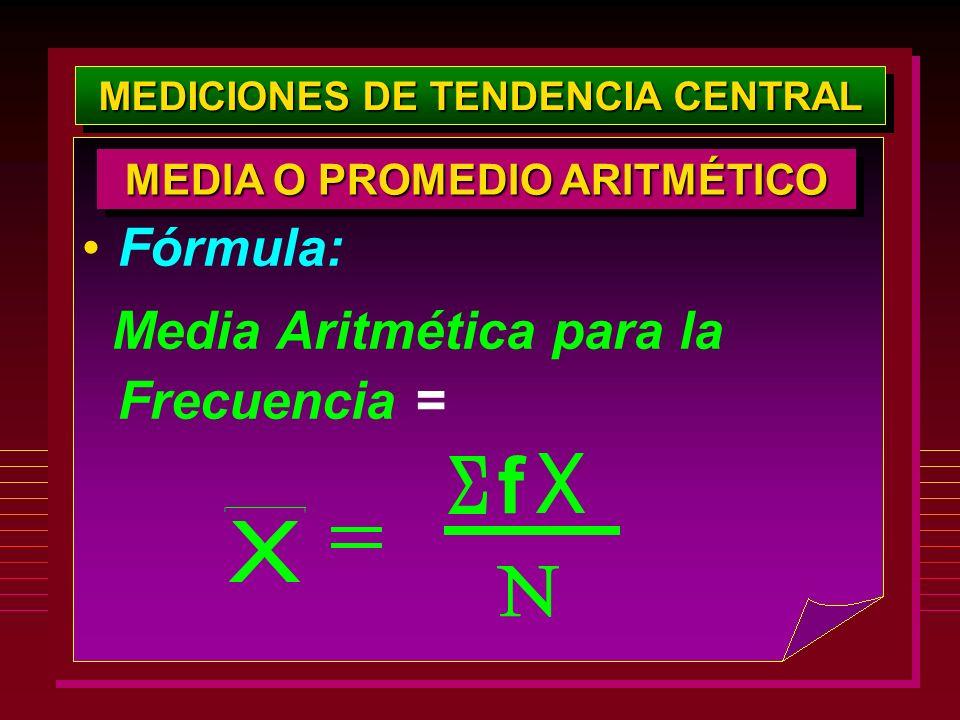 MEDICIONES DE TENDENCIA CENTRAL Fórmula: Media Aritmética para la Frecuencia = MEDIA O PROMEDIO ARITMÉTICO f