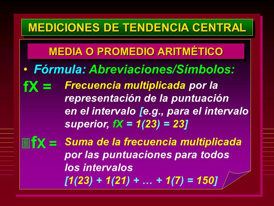 MEDICIONES DE TENDENCIA CENTRAL Fórmula: Abreviaciones/Símbolos: MEDIA O PROMEDIO ARITMÉTICO Frecuencia multiplicada por la representación de la puntu