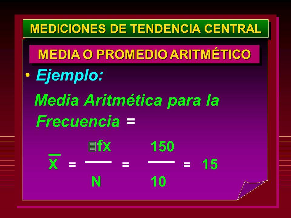 MEDICIONES DE TENDENCIA CENTRAL f X 150 X = = = 15 N 10 MEDIA O PROMEDIO ARITMÉTICO Ejemplo: Media Aritmética para la Frecuencia =