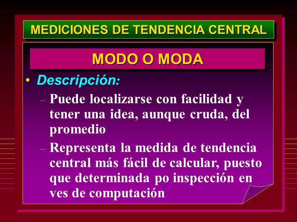 MEDICIONES DE TENDENCIA CENTRAL Descripción : – Puede localizarse con facilidad y tener una idea, aunque cruda, del promedio – Representa la medida de