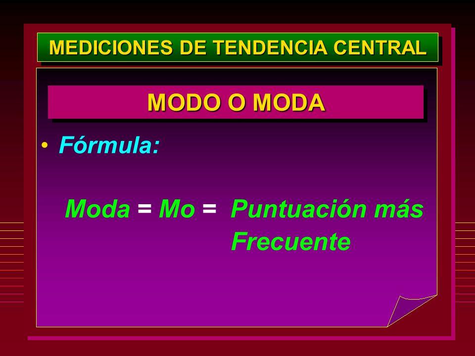 MEDICIONES DE TENDENCIA CENTRAL Fórmula: Moda = Mo = Puntuación más Frecuente MODO O MODA