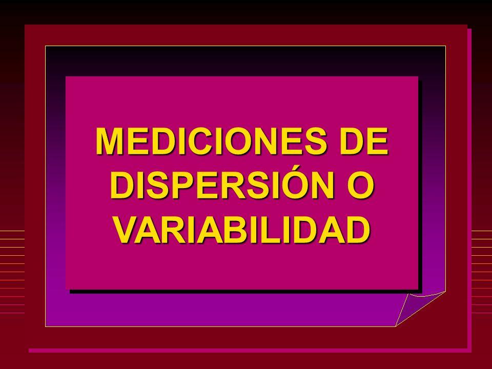 MEDICIONES DE DISPERSIÓN O VARIABILIDAD