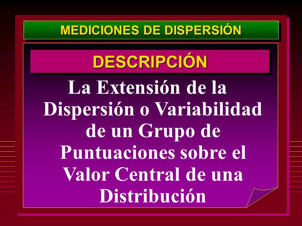 MEDICIONES DE DISPERSIÓN La Extensión de la Dispersión o Variabilidad de un Grupo de Puntuaciones sobre el Valor Central de una Distribución DESCRIPCI