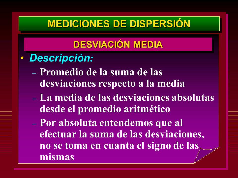 MEDICIONES DE DISPERSIÓN Descripción : – Promedio de la suma de las desviaciones respecto a la media – La media de las desviaciones absolutas desde el