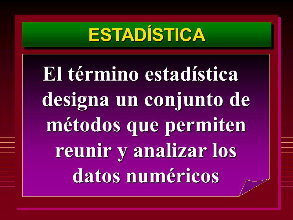 ESTADÍSTICAESTADÍSTICA El término estadística designa un conjunto de métodos que permiten reunir y analizar los datos numéricos