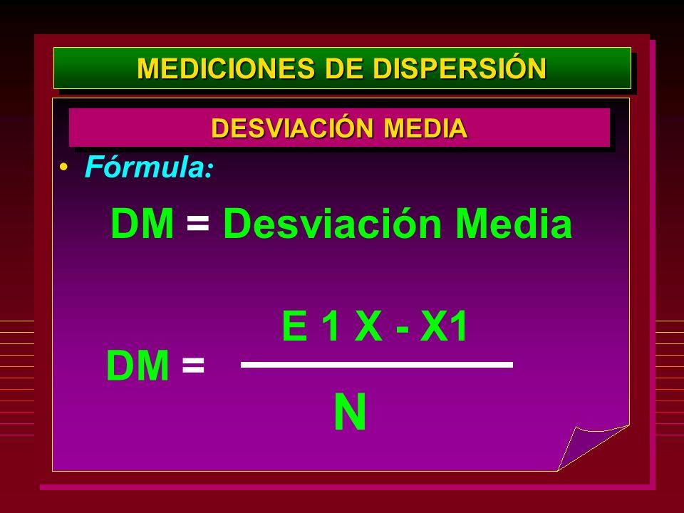 MEDICIONES DE DISPERSIÓN Fórmula : DESVIACIÓN MEDIA E 1 X - X1 N DM = Desviación Media DM =