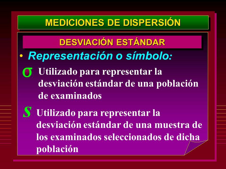 MEDICIONES DE DISPERSIÓN Representación o símbolo : DESVIACIÓN ESTÁNDAR Utilizado para representar la desviación estándar de una población de examinad