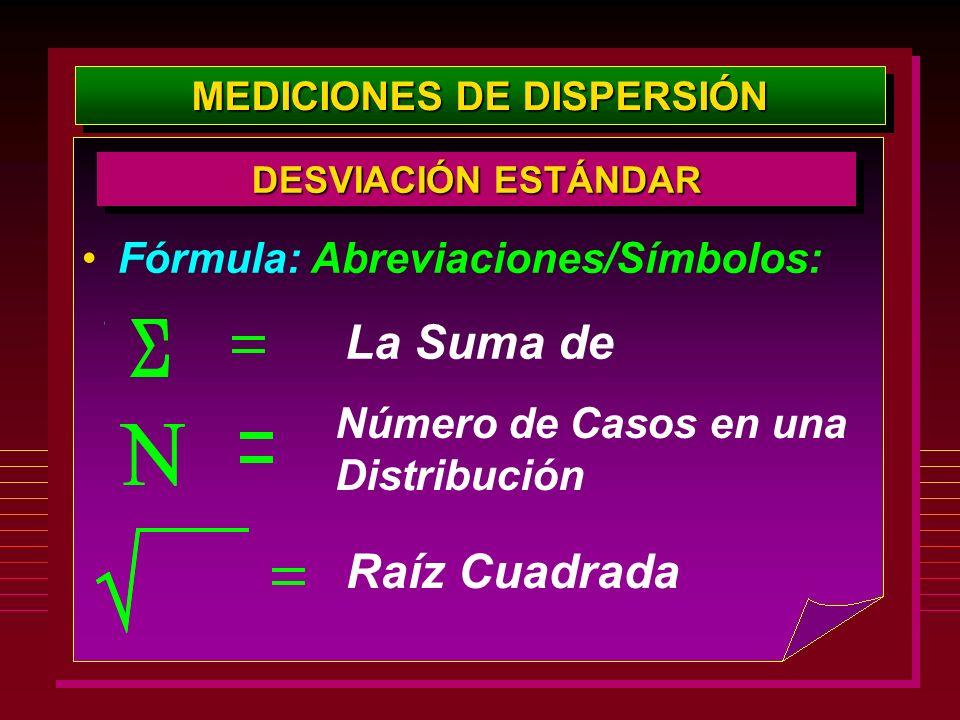 MEDICIONES DE DISPERSIÓN DESVIACIÓN ESTÁNDAR Fórmula: Abreviaciones/Símbolos: La Suma de Número de Casos en una Distribución Raíz Cuadrada