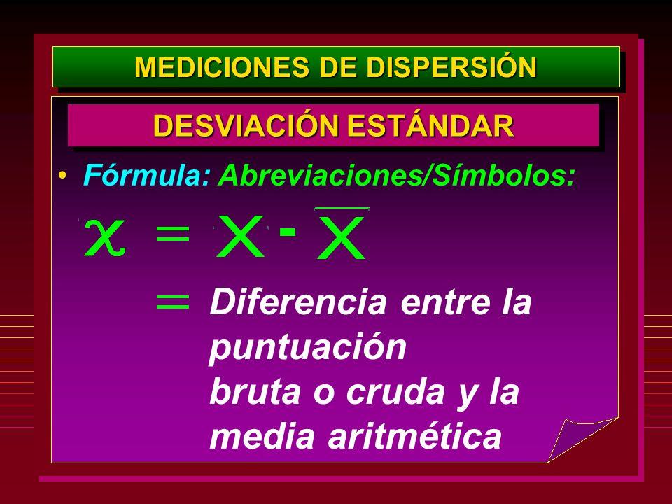 MEDICIONES DE DISPERSIÓN DESVIACIÓN ESTÁNDAR Fórmula: Abreviaciones/Símbolos: Diferencia entre la puntuación bruta o cruda y la media aritmética -