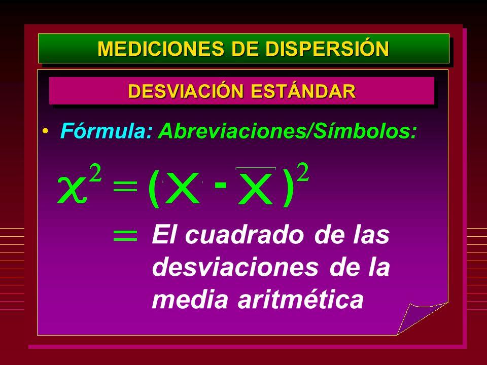 MEDICIONES DE DISPERSIÓN DESVIACIÓN ESTÁNDAR Fórmula: Abreviaciones/Símbolos: El cuadrado de las desviaciones de la media aritmética - ( )