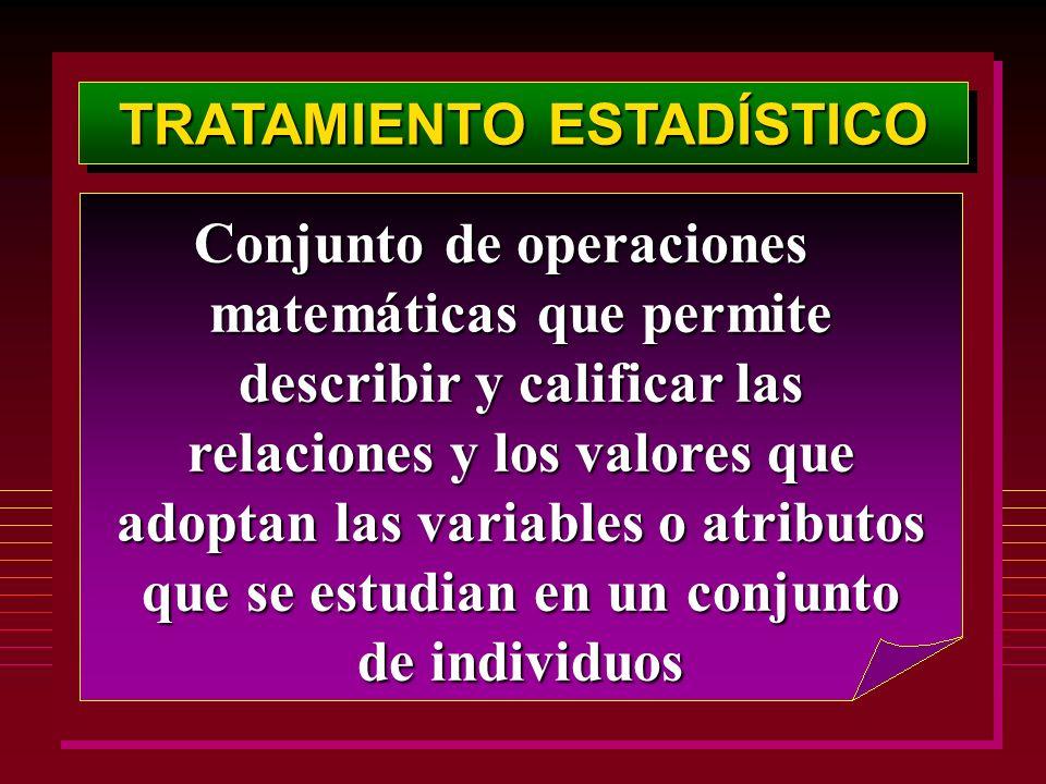 TRATAMIENTO ESTADÍSTICO Conjunto de operaciones matemáticas que permite describir y calificar las relaciones y los valores que adoptan las variables o