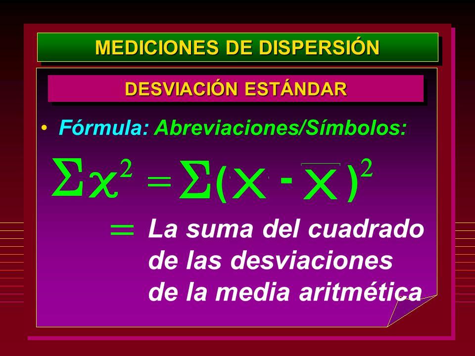 MEDICIONES DE DISPERSIÓN DESVIACIÓN ESTÁNDAR Fórmula: Abreviaciones/Símbolos: La suma del cuadrado de las desviaciones de la media aritmética - ( )