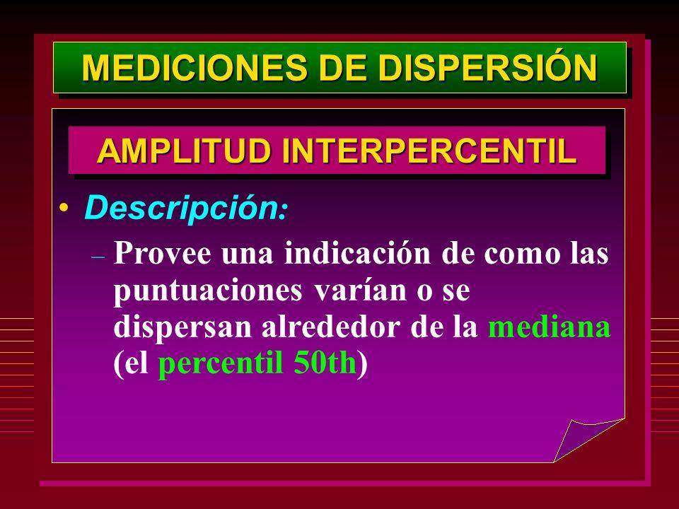 MEDICIONES DE DISPERSIÓN AMPLITUD INTERPERCENTIL Descripción : – Provee una indicación de como las puntuaciones varían o se dispersan alrededor de la