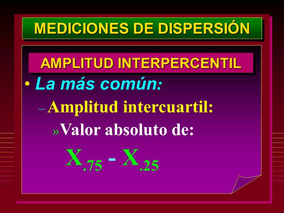 MEDICIONES DE DISPERSIÓN AMPLITUD INTERPERCENTIL La más común : – Amplitud intercuartil: » Valor absoluto de: X.75 - X.25