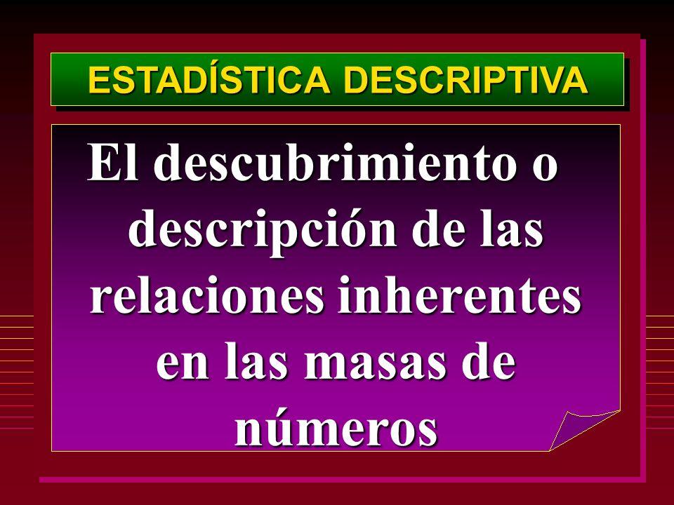 ESTADÍSTICA DESCRIPTIVA El descubrimiento o descripción de las relaciones inherentes en las masas de números