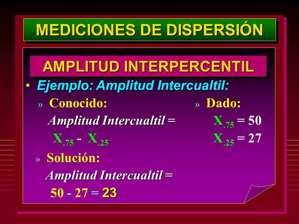 MEDICIONES DE DISPERSIÓN AMPLITUD INTERPERCENTIL Ejemplo: Amplitud Intercualtil: » Dado: X.75 = 50 X.25 = 27 » Conocido: Amplitud Intercualtil = X.75