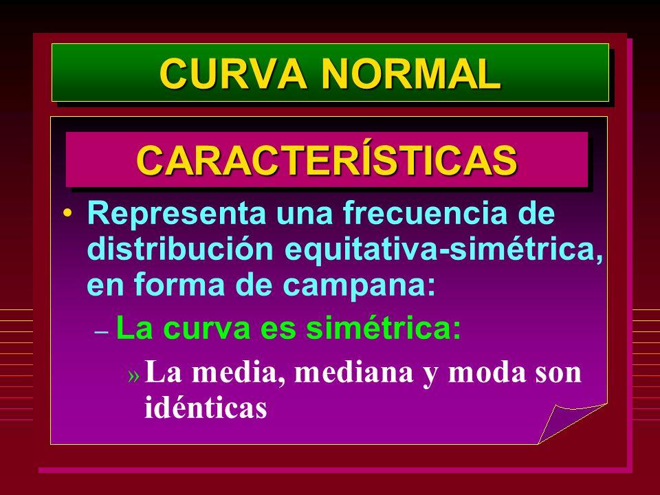 Representa una frecuencia de distribución equitativa-simétrica, en forma de campana: – La curva es simétrica: » La media, mediana y moda son idénticas