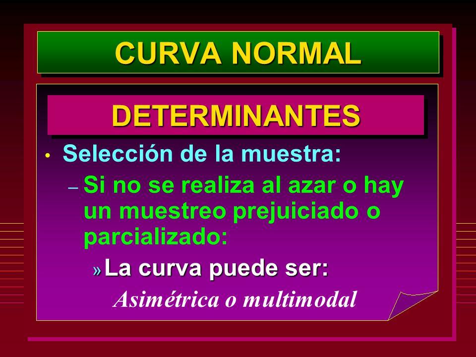 CURVA NORMAL Selección de la muestra: – Si no se realiza al azar o hay un muestreo prejuiciado o parcializado: » La curva puede ser: Asimétrica o mult