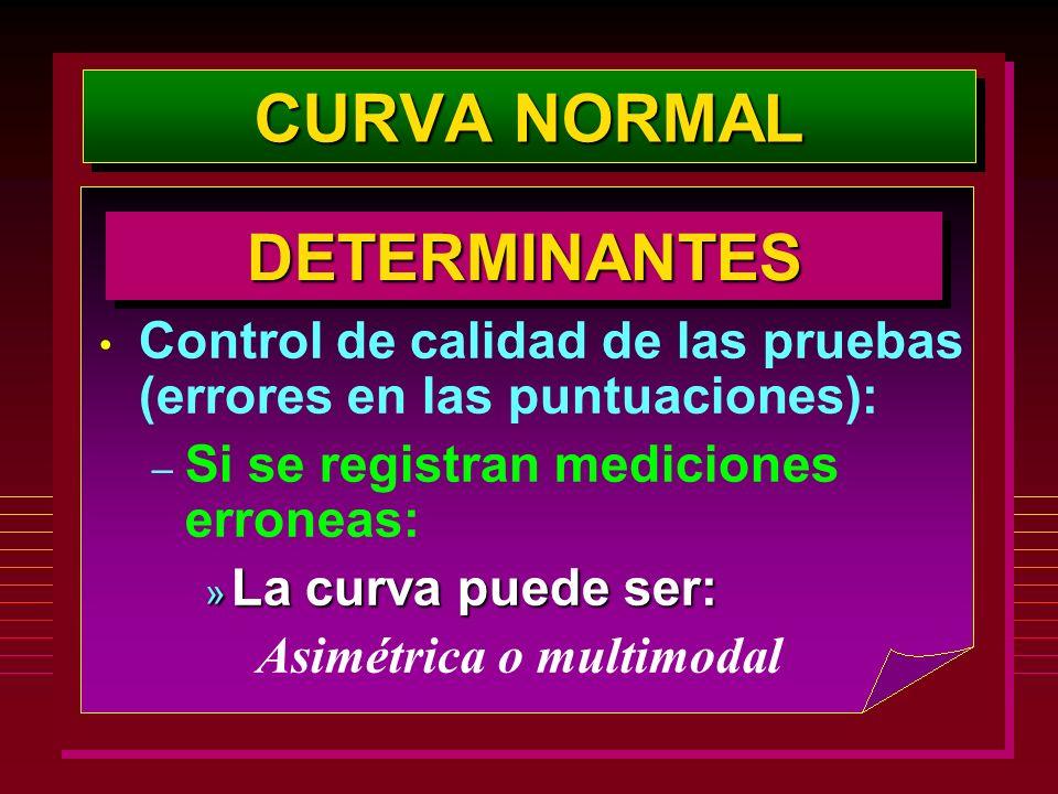 CURVA NORMAL Control de calidad de las pruebas (errores en las puntuaciones): – Si se registran mediciones erroneas: » La curva puede ser: Asimétrica