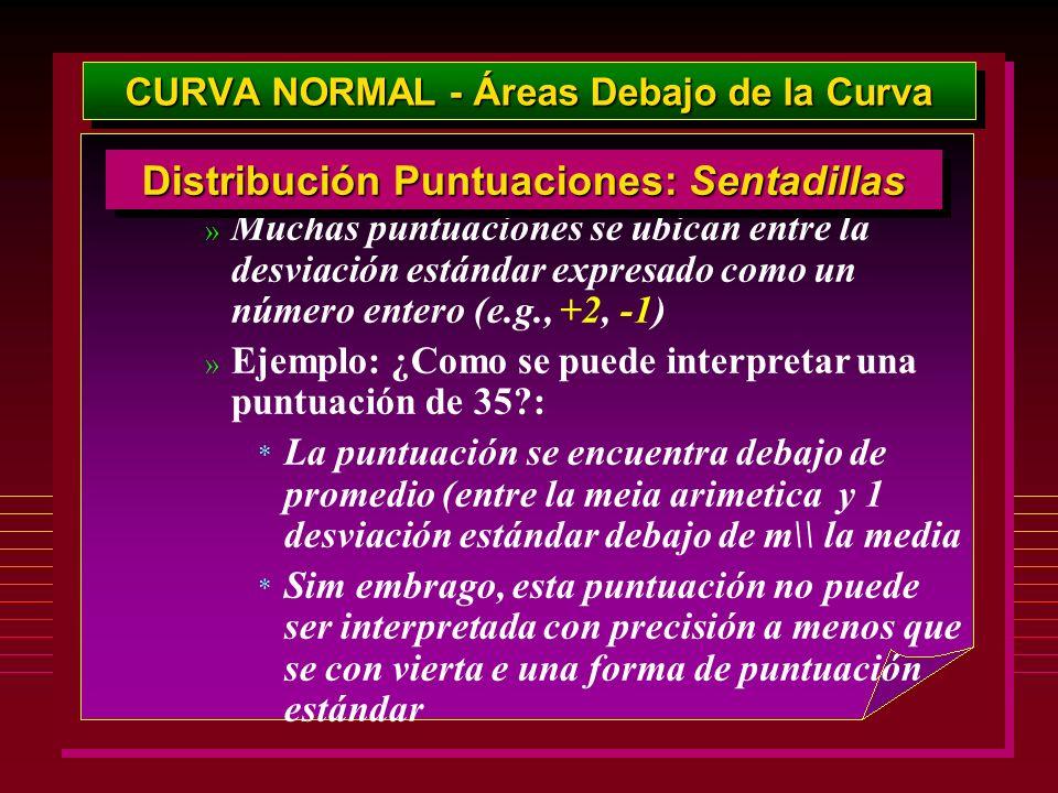 CURVA NORMAL - Áreas Debajo de la Curva » Muchas puntuaciones se ubican entre la desviación estándar expresado como un número entero (e.g., +2, -1) »