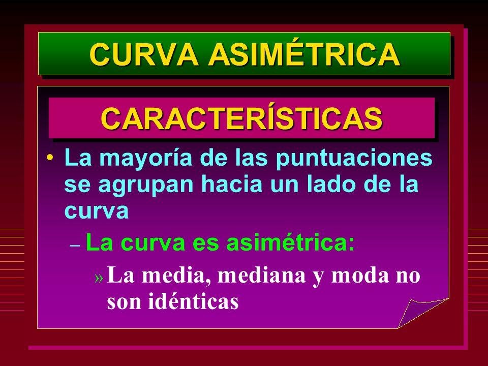 La mayoría de las puntuaciones se agrupan hacia un lado de la curva – La curva es asimétrica: » La media, mediana y moda no son idénticas CARACTERÍSTI
