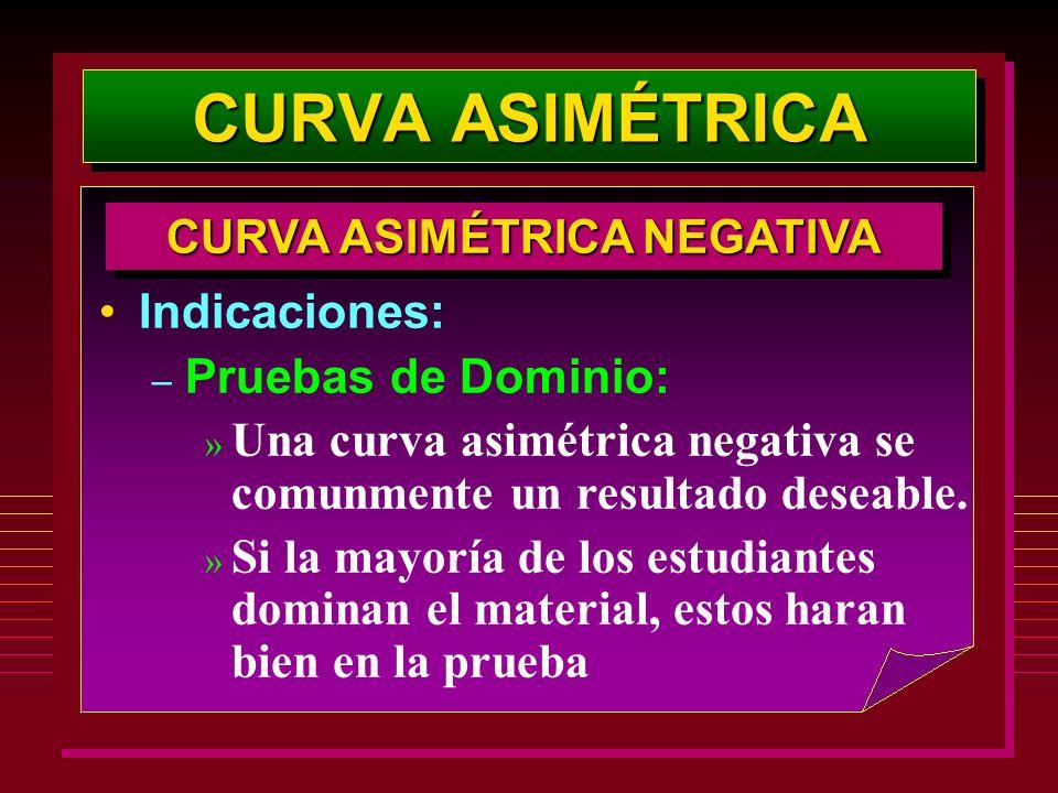 Indicaciones: – Pruebas de Dominio: » Una curva asimétrica negativa se comunmente un resultado deseable. » Si la mayoría de los estudiantes dominan el