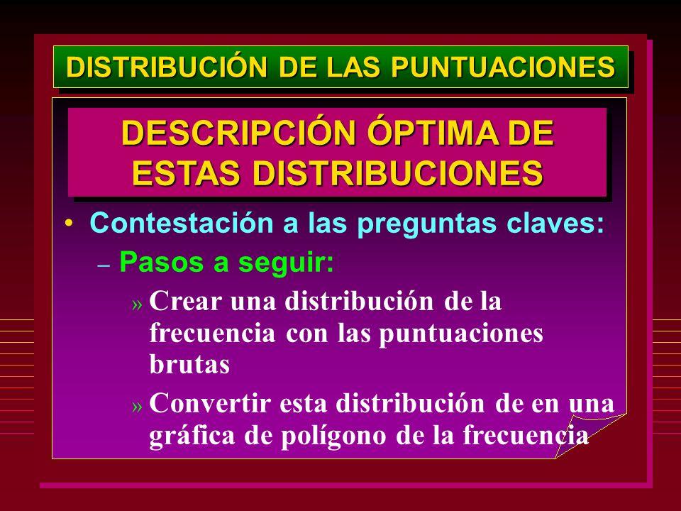 DISTRIBUCIÓN DE LAS PUNTUACIONES Contestación a las preguntas claves: – Pasos a seguir: » Crear una distribución de la frecuencia con las puntuaciones