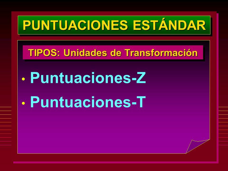 PUNTUACIONES ESTÁNDAR TIPOS: Unidades de Transformación Puntuaciones-Z Puntuaciones-T