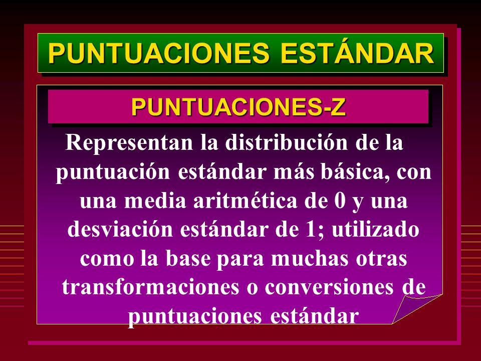 PUNTUACIONES ESTÁNDAR PUNTUACIONES-ZPUNTUACIONES-Z Representan la distribución de la puntuación estándar más básica, con una media aritmética de 0 y u