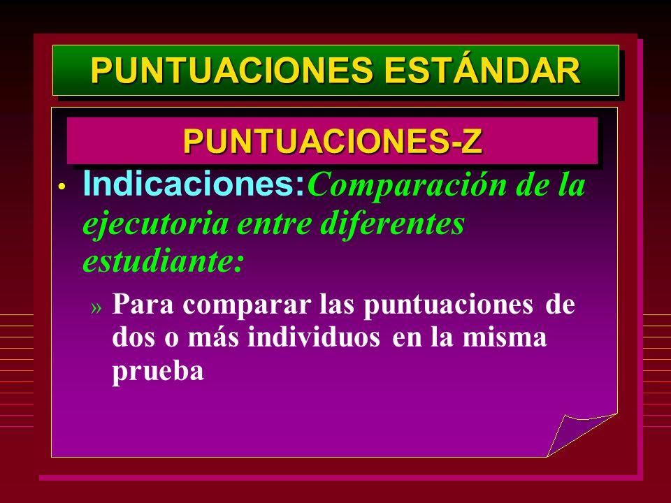 PUNTUACIONES ESTÁNDAR PUNTUACIONES-ZPUNTUACIONES-Z Indicaciones: Comparación de la ejecutoria entre diferentes estudiante: » Para comparar las puntuac