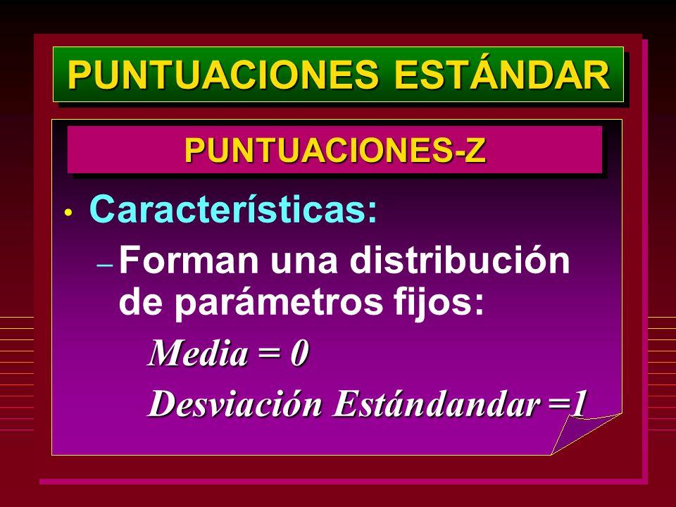 PUNTUACIONES ESTÁNDAR PUNTUACIONES-ZPUNTUACIONES-Z Características: – Forman una distribución de parámetros fijos: Media = 0 Media = 0 Desviación Está